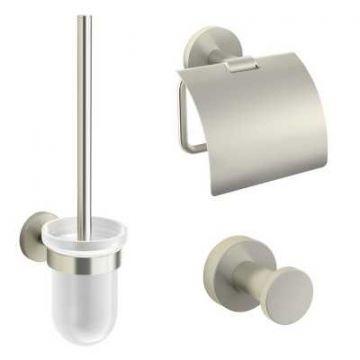 Sub 156 toiletset met ophanghaak, toiletrolhouder en borstelgarnituur, geborsteld nikkel
