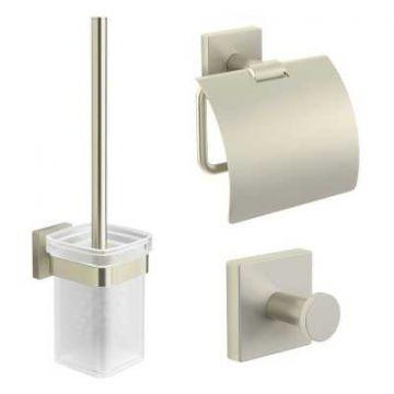 Sub 157 toiletset met ophanghaak, toiletrolhouder en borstelgarnituur, geborsteld nikkel
