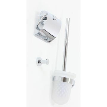Sub 156 toiletset met handdoekhaak, toiletrolhouder en toiletborstel met houder, chroom