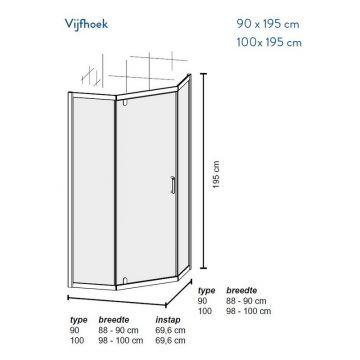 Bruynzeel Cilo vijfhoekige douchecabine 90x90x195 cm, aluminium-helder veiligheidsglas