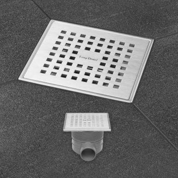 Easy Drain Aqua Plus Quattro vloerput 15x15 cm horizontaal, rvs geborsteld