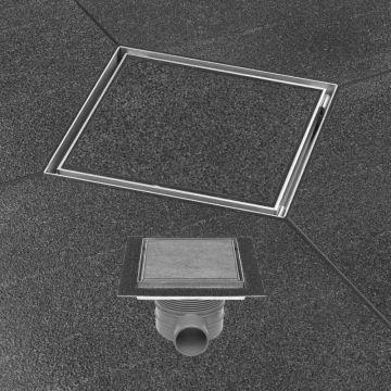 Easy Drain Aqua Plus Quattro tegel vloerput 15x15 cm met rooster msi, rvs geborsteld