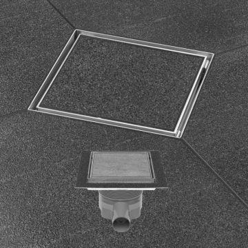 Easy Drain Aqua Plus Quattro tegel vloerput 15x15 cm met rooster msi-6, rvs geborsteld