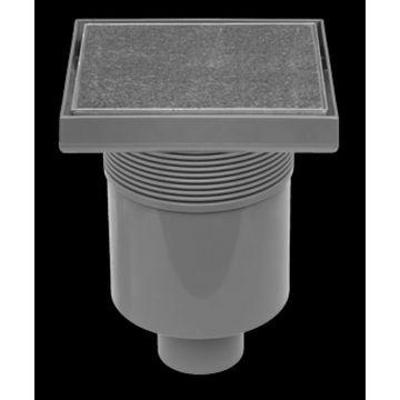 Easy Drain Aqua Quattro tegel vloerput 15x15 cm met rooster msi-1, rvs geborsteld