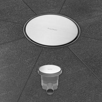 Easy Drain Aqua Round vloerput 15 cm rond met rooster msi-6, rvs geborsteld