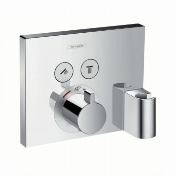 Hansgrohe ShowerSelect afdekset voor inbouwthermostaat met stopkranen voor 2 douchefuncties inclusief Porter wandhouder en Fixfit muuraansluitbocht, chroom