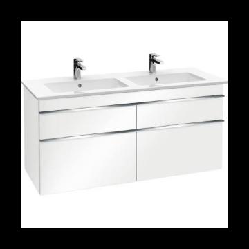 Villeroy & Boch Venticello wastafelonderkast 125,3x59, x50,2 cm met 4 laden, glossy white