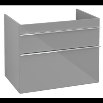 Villeroy & Boch Venticello wastafelonderkast 75,3x59 cm met 2 laden, glossy grey