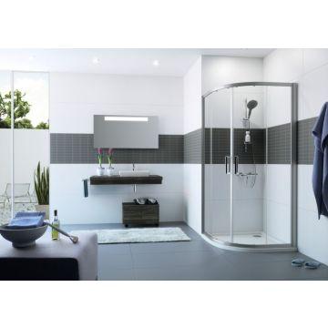 Hüppe Classics 2 kwartrond met schuifdeur 90/90x190 cm r550, matzilver-antiplaque glas