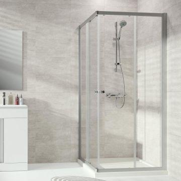 Hüppe Classics 2 2-dlg. hoekinstap 90/90x190 cm, matzilver-helder glas