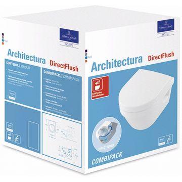 Villeroy & Boch Architectura combipack Directflush diepspoel wandcloset en toiletzitting met Quickrelease en Softclosing, wit