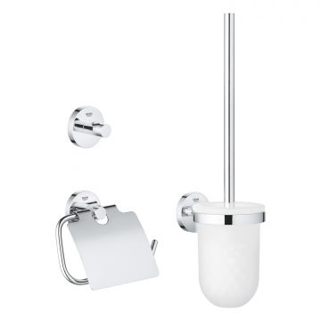GROHE Essentials toiletaccessoireset met toiletborstel en houder, toiletrolhouder en handdoekhaak, chroom