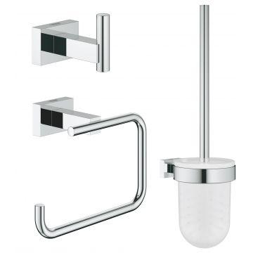 GROHE Essentials Cube toiletaccessoireset 3-in-1 met QuickFix, chroom