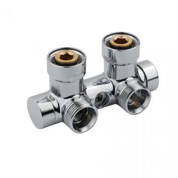 """Vasco square onderblok radiatoraansluitset 3/4"""" 50 mm haaks, chroom"""