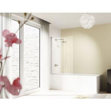 Hüppe Design pure 1-delige badklapwand 75x150 cm, matzilver-antiplaque glas