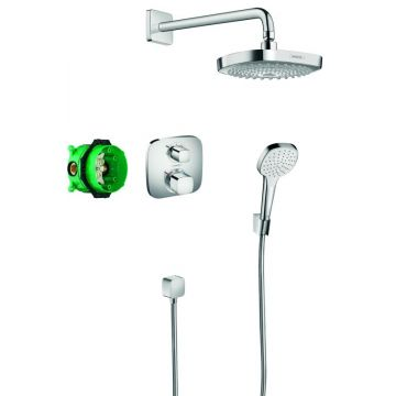 Hansgrohe Croma Select E showerset compleet met Ecostat E thermostaat, chroom