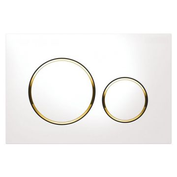 Geberit Sigma20 bedieningspaneel, plaat wit, knoppen wit, ringen goudkleurig