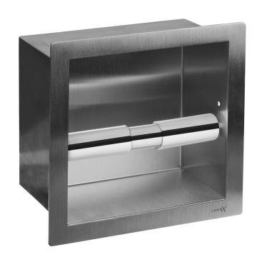 LoooX Closed inbouwtoiletrolhouder vierkant 15,8x15,8x8,7 cm, geborsteld rvs