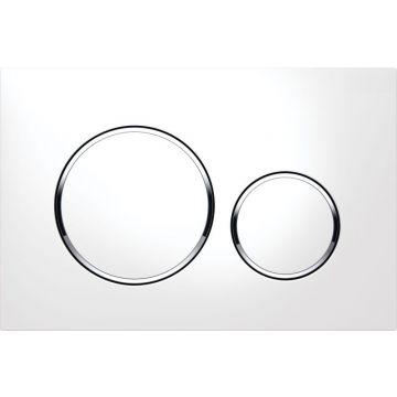 Geberit Sigma20 bedieningspaneel voor frontbediening (lxbxh) 164 x 246 x 11 mm, plaat wit, knoppen wit, ringen glans-chroom