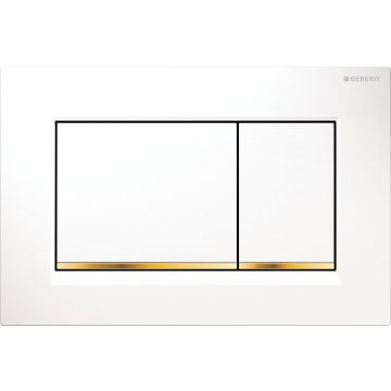 Geberit Sigma30 bedieningspaneel, plaat wit, knoppen wit, randen goud