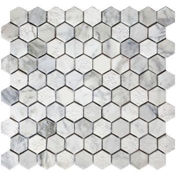 Sub 1729 keramische tegelmat 30x30 cm, blok 3x3 cm, prijs per stuk, carrara, wit