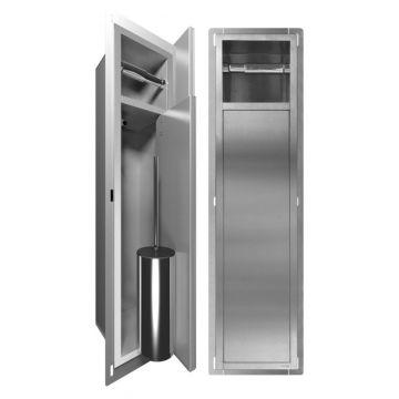 LoooX Closed inbouwopbergsysteem voor toiletborstel incl. toiletrolhouder, geborsteld rvs