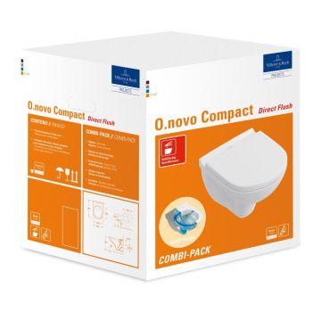 Villeroy & Boch O.novo CombiPack hangend toilet diepspoel Directflush compact inclusief toiletzitting met softclose en quickrelease, wit