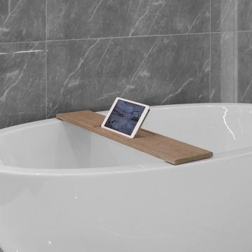 LoooX Wood Bath Shelf massief eiken badplank met inleg 78x20x2 cm, old grey/rvs geborsteld