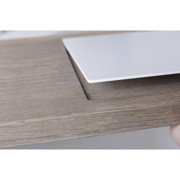 LoooX Wood Bath Shelf massief eiken badplank met inleg 78x20x2 cm, old grey/mat wit