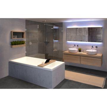 LoooX Wood Bath Shelf massief eiken badplank met inleg 78x20x2 cm, old grey/mat zwart