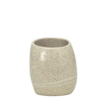 Kleine Wolke Stones tandenborstelbeker 10x8 cm, zandbeige