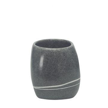 Kleine Wolke Stones tandenborstelbeker 10x8 cm, donkergrijs
