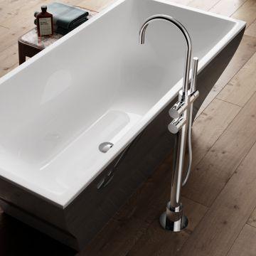 Hotbath Buddy vrijstaande thermostatische badkraan met omstelling, geborsteld nikkel