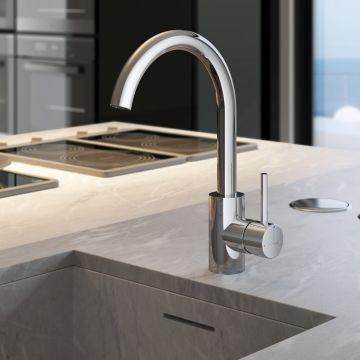 Hotbath Buddy 1-hendel keukenkraan met draaibare uitloop, chroom