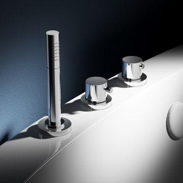 Hotbath Buddy thermostatische 3-gats badrandkraan zonder uitloop, chroom