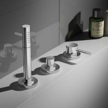 Hotbath Buddy thermostatische 3-gats badrandkraan zonder uitloop, geborsteld nikkel