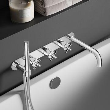 Hotbath Chap inbouwthermostaat bad/douche met 2 stopkranen en uitloop, chroom