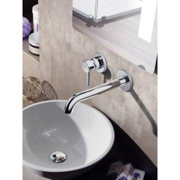 Hotbath Buddy 1-hendel inbouw wastafelmengkraan met gebogen uitloop, geborsteld nikkel