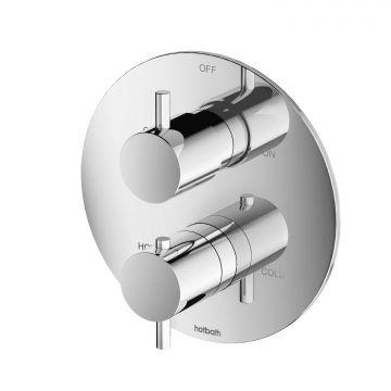 Hotbath Laddy inbouwthermostaat met omstel rond, geborsteld nikkel