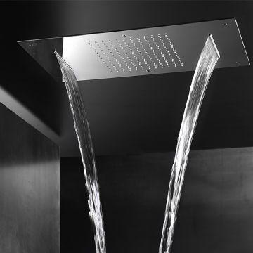 Hotbath Mate inbouw hoofddouche Dualflow 38x70 cm rechthoekig, geborsteld nikkel