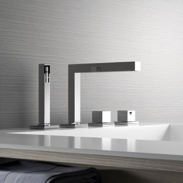 Hotbath Bloke thermostatische 4-gats badrandkraan met uitloop en 2-weg omstel, geborsteld nikkel