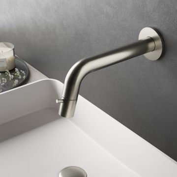 Hotbath Cobber 1-hendel fonteinkraan wandmontage, geborsteld nikkel