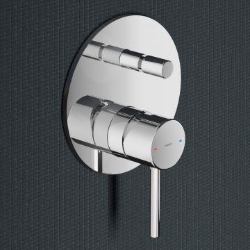 Hotbath Buddy thermostatische inbouw douchemengkraan met omstelling, geborsteld nikkel