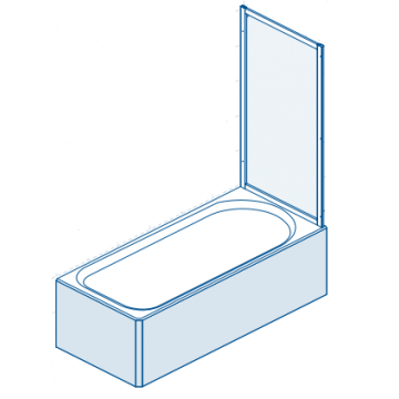 Sealskin Multi-S 4000 badzijwand 700 mm br 1400 mm hg zilver hoogglans druppel (rain) kunststof glas