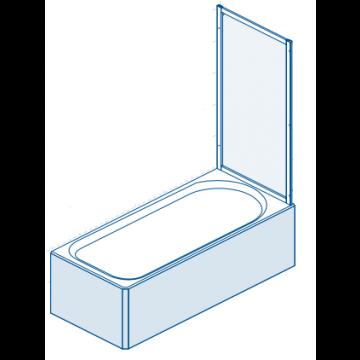 Sealskin Multi-S 4000 badzijwand 750 mm br 1400 mm hg zilver hoogglans druppel (rain) kunststof glas