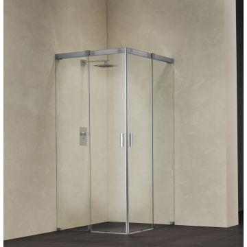 Sealskin Acqua 5000 hoekinstap linker deel 1400 mm br 2000 mm hg (voor comb. met hoekinstap rechter deel), chroom zilver hoogglans helder glas incl. grijze zeefdrukband + procare