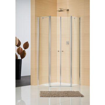 Sealskin Multi-S 4000 5-hoek 4-dlg 900x900 mm br 1950 mm hg (deurmaat 636) zilver hoogglans helder glas + procare