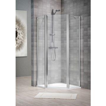 Sealskin Vela 2000 5-hoek r.draaiend 1000x1000 mm br 1950 mm hg (deurmaat 636) zilver hoogglans helder glas + sealglas