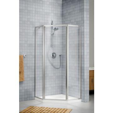 Sealskin Prima 2000 5-hoek 900x900 br 1900 hg (deurmaat 636, met draaideur) mat zilver helder glas