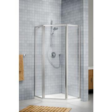 Sealskin Prima 2000 5-hoek 1000x1000 br 1900 hg (deurmaat 636, met draaideur) mat zilver helder glas + sealglas